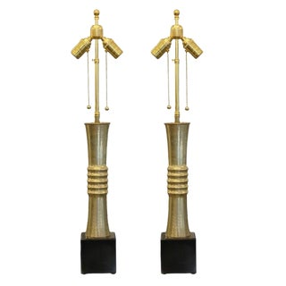 Sculptural Brass and Marble Table Lamps