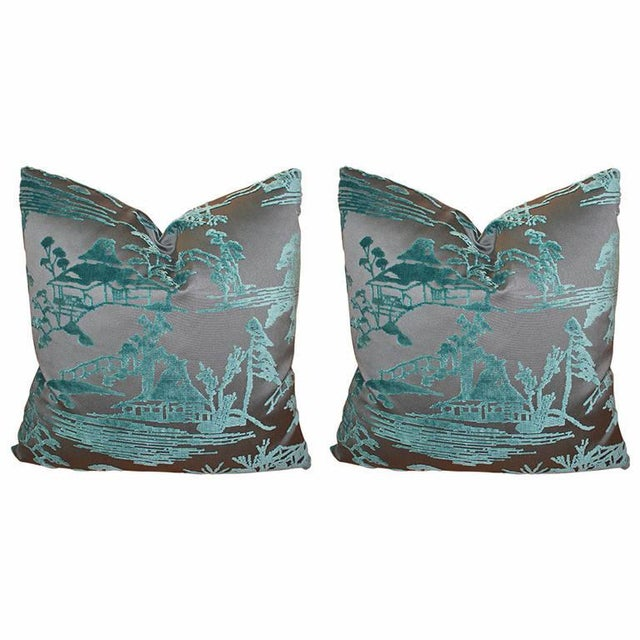 Image of Ebony & Aqua Toile Pillows