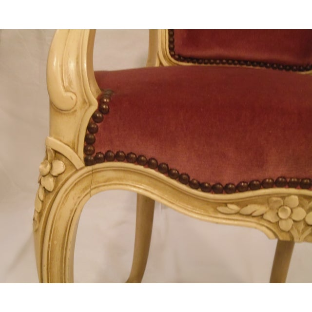 Image of Antique Ivory Louis XV Style Low Back Fauteuil