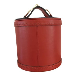 Red Leather Ice Bucket