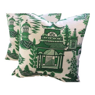 """Schumacher Pillows in Jade Green & White """"Nanjing"""" Chinoiserie Style - a Pair"""