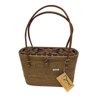 Balinese Pocketbook Carved Wood Flower Basket