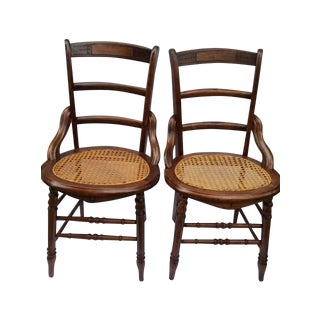 Antique Cherry Cane Side Chairs - A Pair