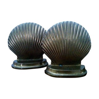 1960s Brass Clam Shell Bookends