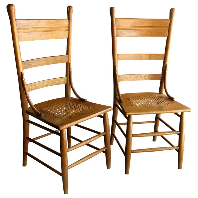 Caned Seat Antique Chairs - A Pair - Image 1 of 6
