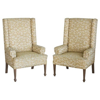 Vintage 1950s Tall Gold Wingback Chairs - A Pair