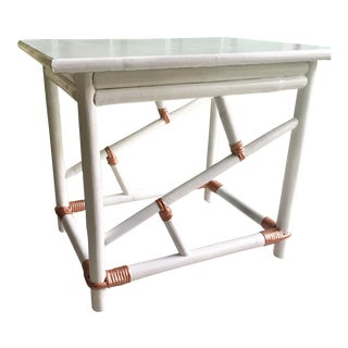 Vintage Glossy White Lacquer and Rose Gold Copper Chinoiserie Faux Bamboo Side Table
