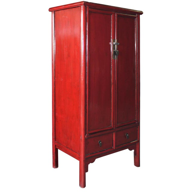 Vintage Chinese Red Lacquer Armoire Wardrobe Chest - Image 2 of 6