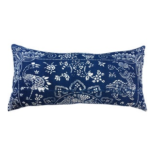 Antique Indigo Batik Crane Pillow