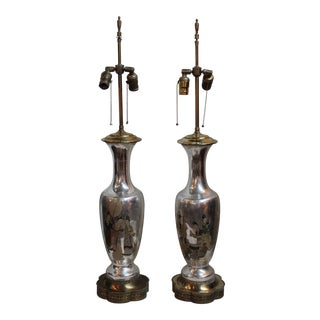 Reverse Decoupage Chinoiserie Lamps - A Pair