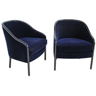 Ward Bennett for Brickell Velvet Chairs - A Pair