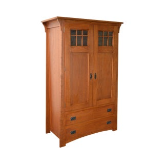 Solid Oak Mission Style 2 Door Armoire