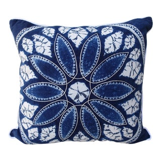 Blue & White Batik Floral Pillow