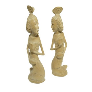 Vintage Hand Carved Wood Polynesian Female Figures
