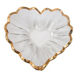 Glass and Gold Heart Dish