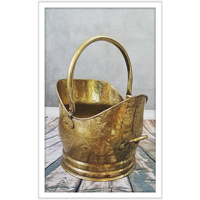 Image of Vintage English Hammered Brass Fireplace Bucket