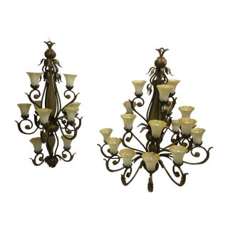 Traditional Wrought Iron Chandeliers - A Pair