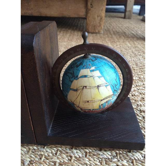 Nautical Spinning Globe Ships Bookends - Pair - Image 4 of 6
