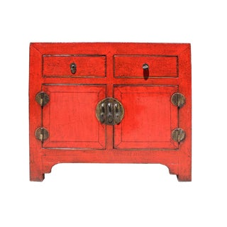 Chinese Rustic Distressed Red Side Table Cabinet