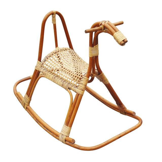 Image of Sculptural Vintage Rattan Rocking Horse