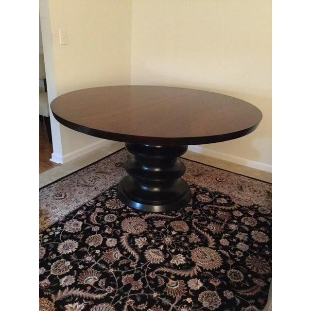 Bernhardt solid wood round pedestal dining table w leaf for Solid wood round dining table with leaf