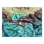 Image of 19th C. Majolica Begonia Leaf Footed Compote