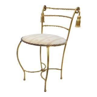 Hollywood Regency Gold Tassel Vanity Bench
