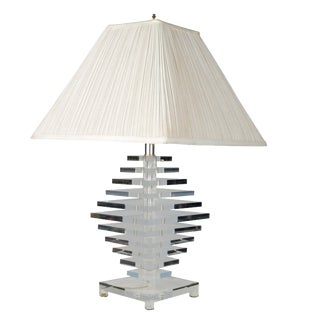 Stacked Lucite Table Lamp with Shade