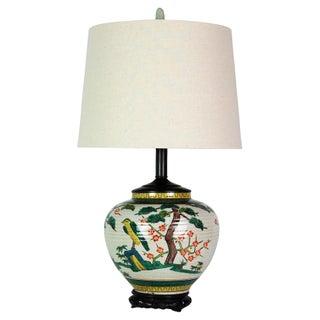 Japanese Polychrome Lamp & Jade Finial