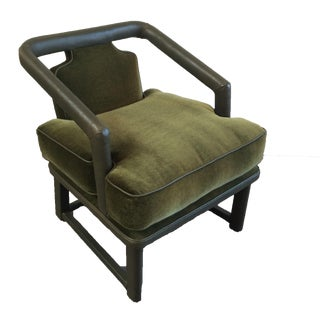Green Leather & Mohair Lounge Chair