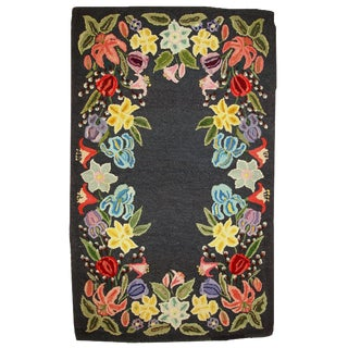 1920s Antique American Hooked Rug - 3' X 4'9""