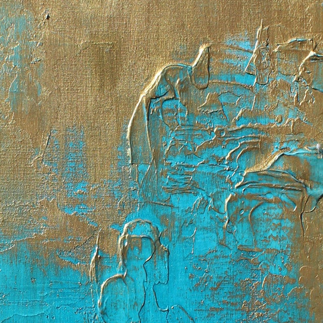 """Original """"Bronzed Earth II"""" Abstract Modern Turquoise Blue Bronze Metallic Textured Painting on Canvas - Image 3 of 4"""
