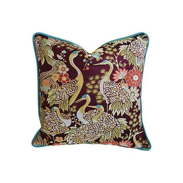 Designer Embroidered Crane Pillows - Pair - Image 2 of 8