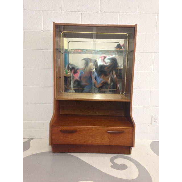 Image of Mid-Century Modern Teak Glass Cabinet