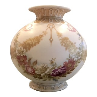 Antique French Porcelain Painted Floral Vase