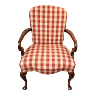 Gingham Goose Neck Armchair