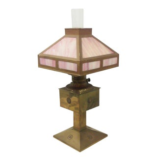 Antique Style Brass and Pink Slag Glass Lamp