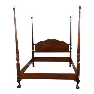 Drexel Heritage Heirlooms Mahogany Queen Size Ball & Claw Foot Pineapple Top Poster Bed