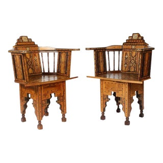 Pair of Early 20th Century Syrian Barrel Back Armchairs