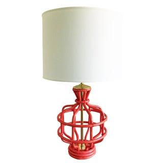 Vintage Coral Bamboo Motif Lamp