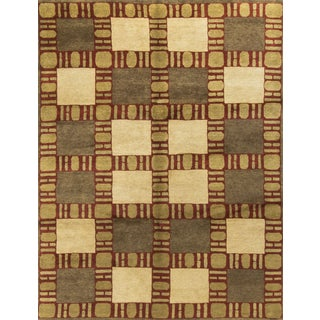 "Contemporary Hand-Knotted Wool Rug - 8'11"" x 12' 2"""