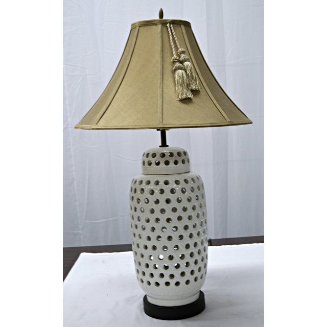 Mid-Century White Perforated Porcelain Table Lamp - Image 2 of 9