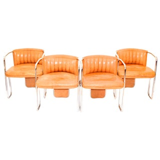 Poltrona Frau Chrome & Leather Chairs - Set of 4