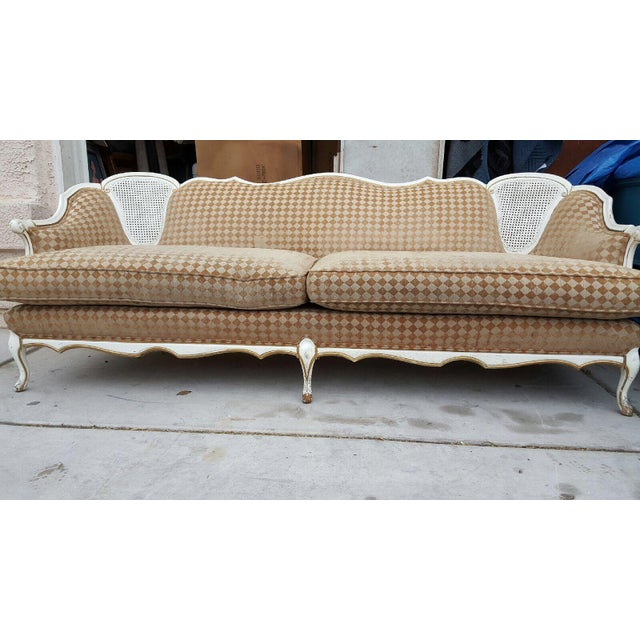 Orange/White French Provencial Cane Back Couch - Image 8 of 8