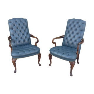 Vintage Blue Tufted Leather Chairs - A Pair