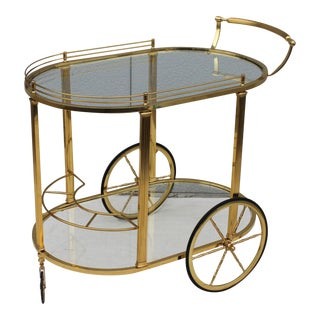 1950s Vintage Italian Large Brass Bar Cart