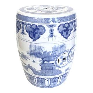 Chinoiserie Blue & White Garden Stool