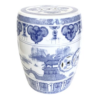 Chinoiserie Blue & White Garden Stool