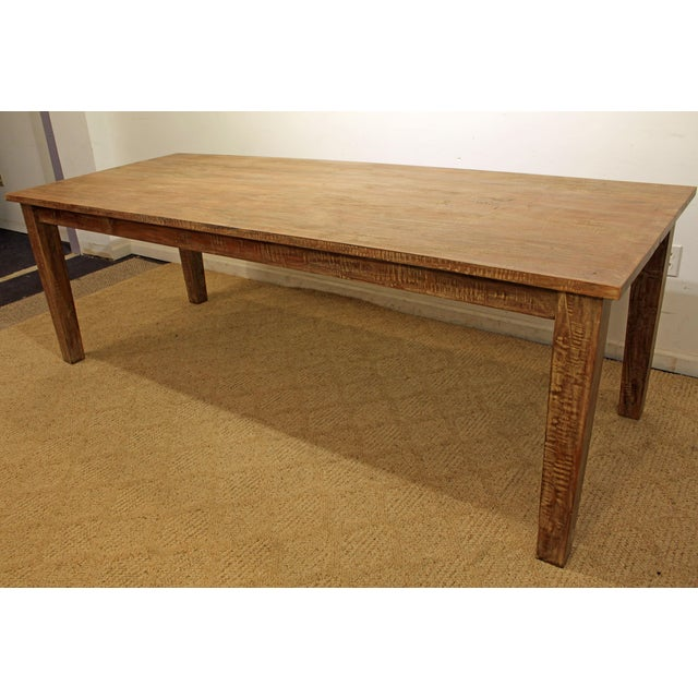 "French Country Farm Rustic Dining Table 90"" Long - Image 11 of 11"