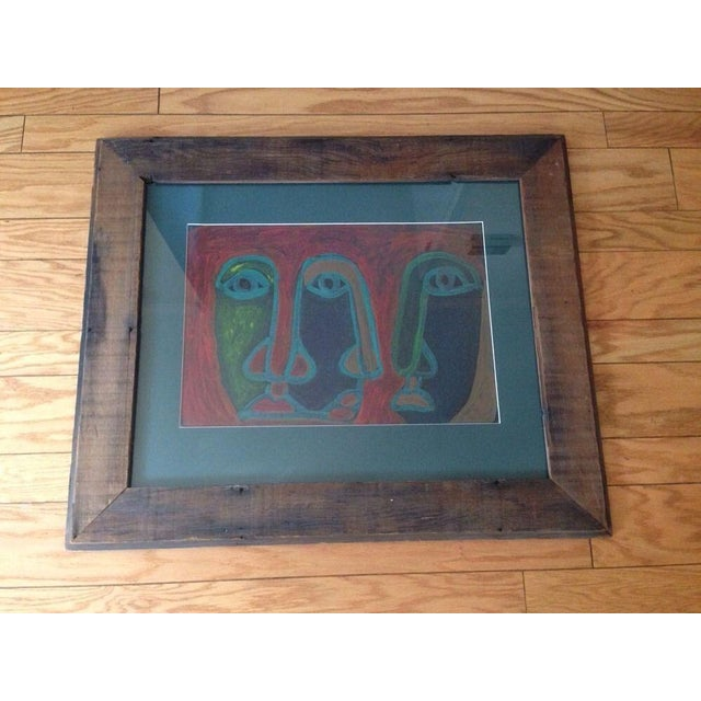 Image of Mid-Century Abstract Three Face Portrait Painting
